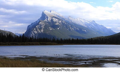 Timelapse Vermillion Lakes and Mount Rundle near Banff,...