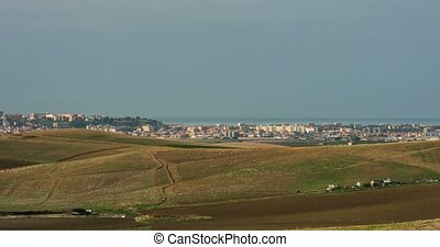 Timelapse, Very long pan from Agrigento to Licata, Sicily