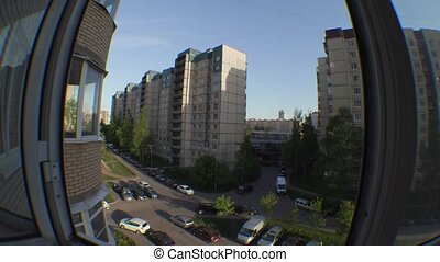 timelapse video in the courtyard of multi-storey buildings....