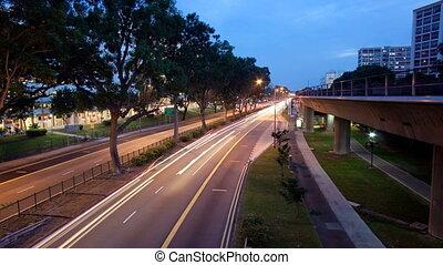 Timelapse video of night scene in Singapore