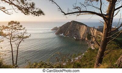 Timelapse video of rocks and bay, Playa Silencio, Spain - ...