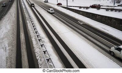 Timelapse video of Snowy Street Scene