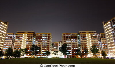 Timelapse video of twinkling apartment lights - Timelapse...
