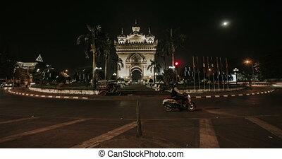 timelapse, vientiane, oorlog, monument, nacht, patuxai
