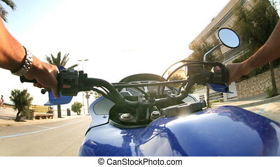 Timelapse view captured from a motorbike ride around the...