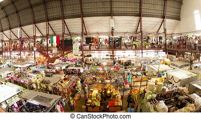 timelapse view inside guanajuato food market, mexico