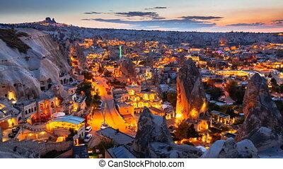 Timelapse view of beautiful Goreme village in Cappadocia at night in Turkey
