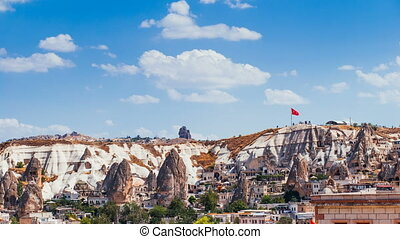 Timelapse view of famous Goreme village in Cappadocia at day time in Turkey