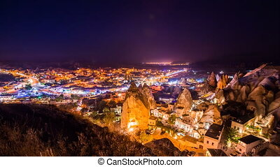 Timelapse view of Goreme village in Cappadocia at night in Turkey