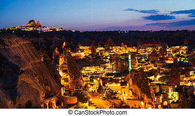 Timelapse view of Goreme village in Cappadocia at night in...