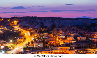 Timelapse view of Goreme village with beautiful sky in Cappadocia at night in Turkey