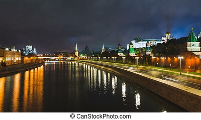 Timelapse view of historical center Moscow center with river, kremlin and traffic