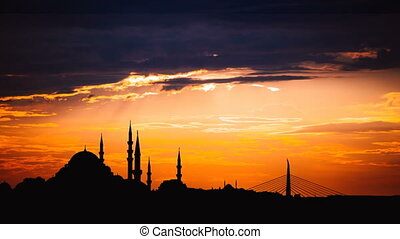 Timelapse view of Istanbul cityscape with famous Suleymaniye...
