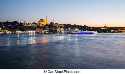 Timelapse view of Istanbul cityscape with Suleymaniye mosque...