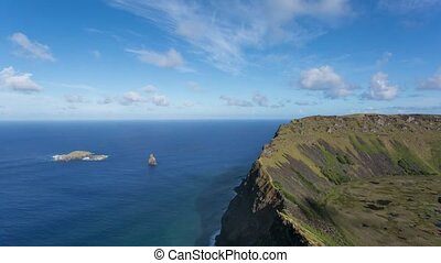 Rano Kau volcano on Easter Island, Chile - Timelapse view of...