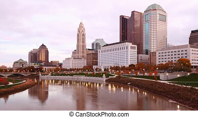 Timelapse view of the Columbus, Ohio city center - A...