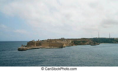 Timelapse View of the Mediterranean Sea, Fort Ricasoli and...
