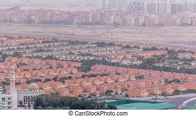 timelapse, ville, dubai, appartement, aérien, arabe, maisons, uni, emirats, villas, vue