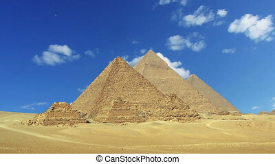 Timelapse with clouds over great pyramids in Egypt