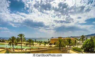 Timelapse with the view of the beach of Plama de Mallorca...