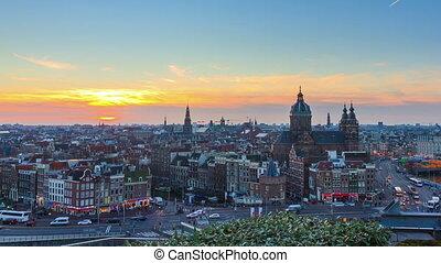 timelapse, zoom, horizon, coucher soleil, 4k, amsterdam