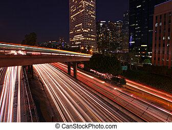 Timelapsed Freeway Light Streaks on a Los Angeles Freeway