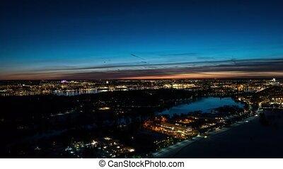 Timelase of city lights and stunning dark blue sky after sunset. Stockholm, Sweden, 4k UHD 2160p