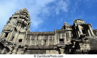 timelaspe of clouds passing over angkor wat