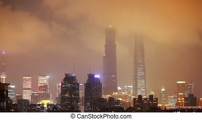 Timelaspe shot of The pudong district of Shanghai city at night