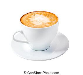 time.late, cappuccino, café, isolado
