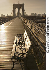 Color toned rendition of Brooklyn Bridge and park bench