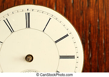 Timeless: detail of broken Antique Watch face with no hands