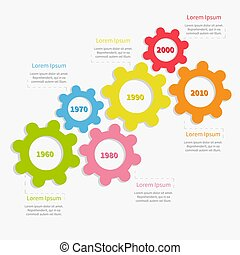 timeline , γρανάζι , ενδυμασία , διαμέρισμα , template., γραφικός , infographic, σχεδιάζω