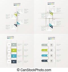 timeline 4 item Green, blue, gray color