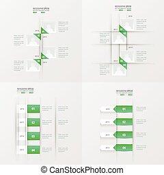 timeline 4 item green gradient color