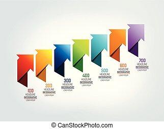 Timeline arrow scheme, infographic.