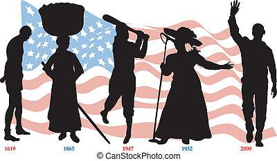 timeline, bandeira, pretas, história
