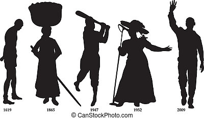 timeline, bandera, negro, historia