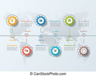 Timeline business infographic template with gears cogwheels 6 st