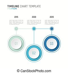 Timeline chart infographic template for data visualization. 3 st
