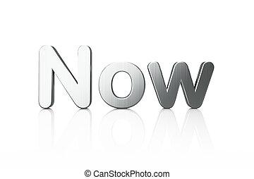 Timeline concept: 3d word Now