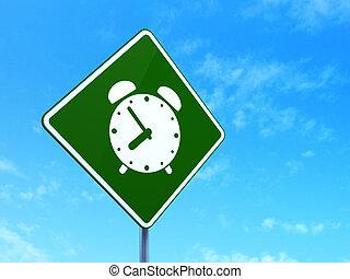 Timeline concept: Alarm Clock on road sign background
