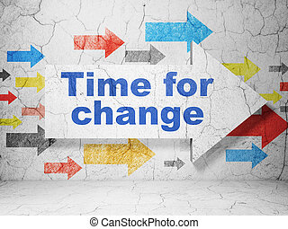Timeline concept: arrow whis Time for Change on grunge wall