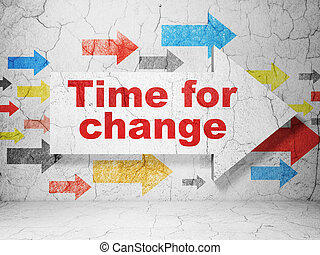 Timeline concept: arrow with Time for Change on grunge wall background