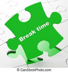 Timeline concept: Break Time on puzzle background - Timeline...