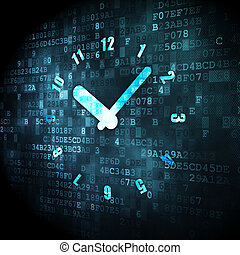 Timeline concept: Clock on digital background