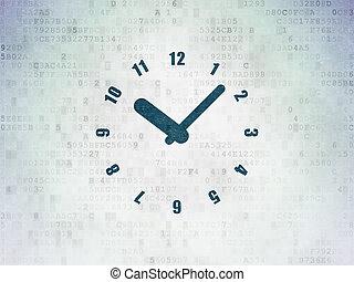 Timeline concept: Clock on Digital Data Paper background