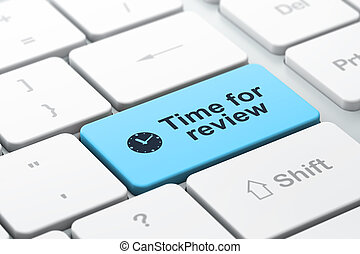 Timeline concept: computer keyboard with Clock icon and word Time for Review, selected focus on enter button, 3d render