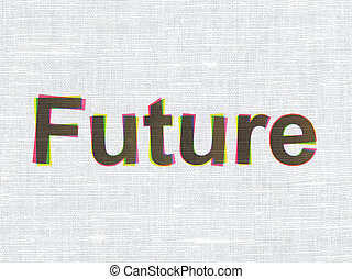 Timeline concept: Future on fabric texture background