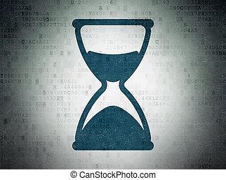 Timeline concept: Hourglass on Digital Data Paper background